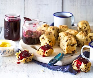 Cherry jam with chocolate chip buttermilk scones