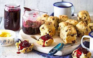 Cherry jam with chocolate chip buttermilk scones