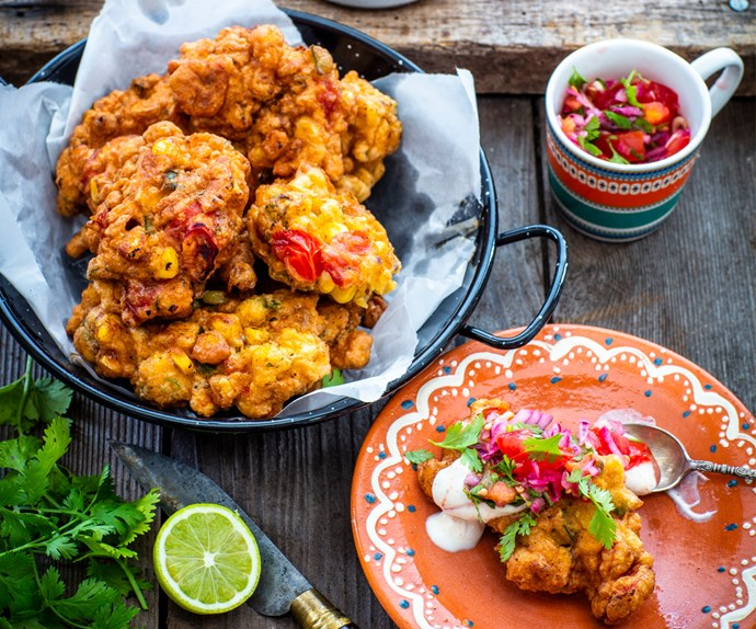 Mexican sweetcorn and tomato hushpuppies
