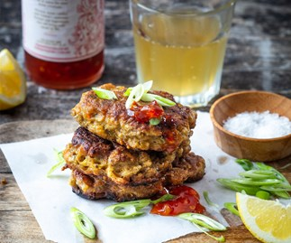 Curried mussel fritters