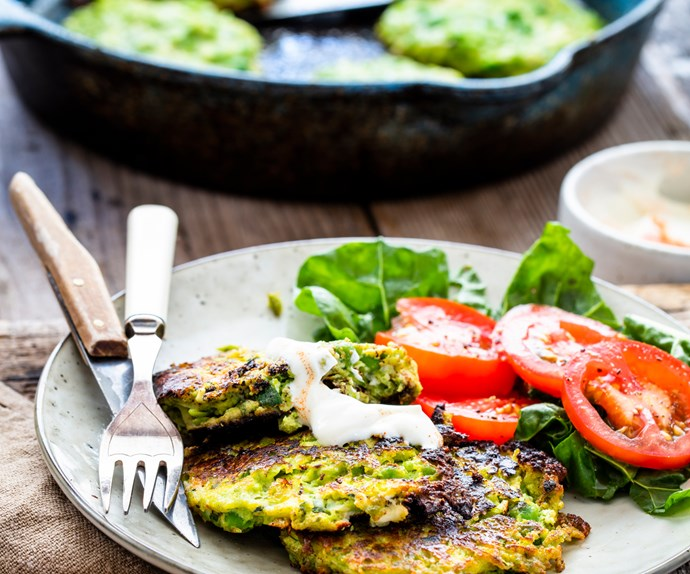 Courgette, pea and feta fritters