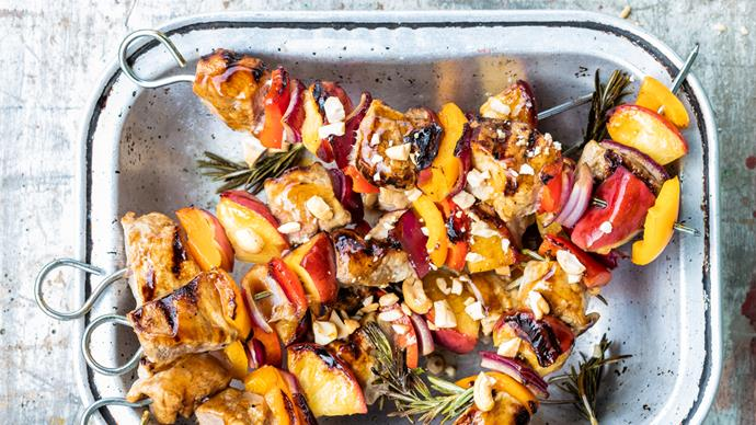 Pork and peach barbecue skewers