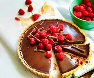Raspberry, hazelnut and chocolate tart