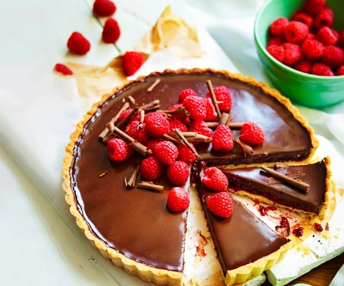 Raspberry, hazelnut and chocolate tart