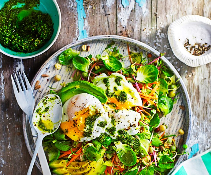 Breakfast salad with poached egg and kale pesto