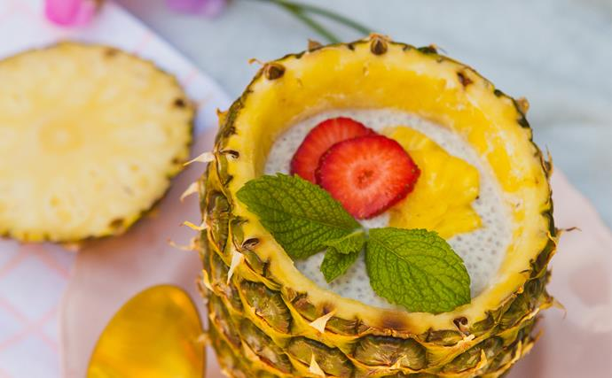 Coconut, honey and chia pineapple pudding