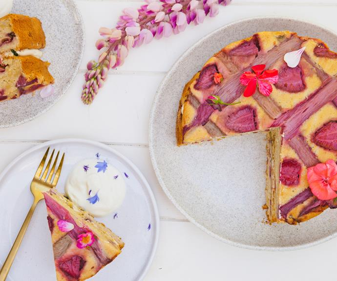 Honey, rhubarb and strawberry upside-down cake