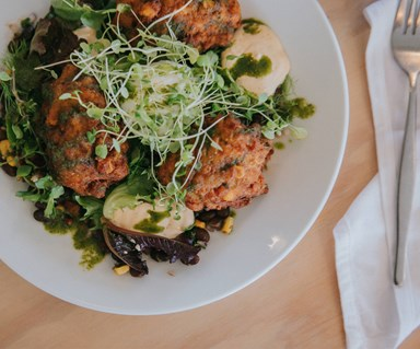The Shack's chickpea and corn fritters with salsa and chipotle crema