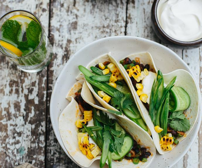 Chipotle bean tacos with pickled green beans and cucumber