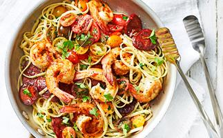 Linguine with garlic prawns and chorizo