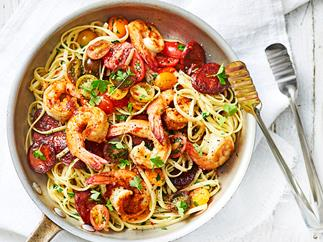 Linguine with garlic prawns and chorizo