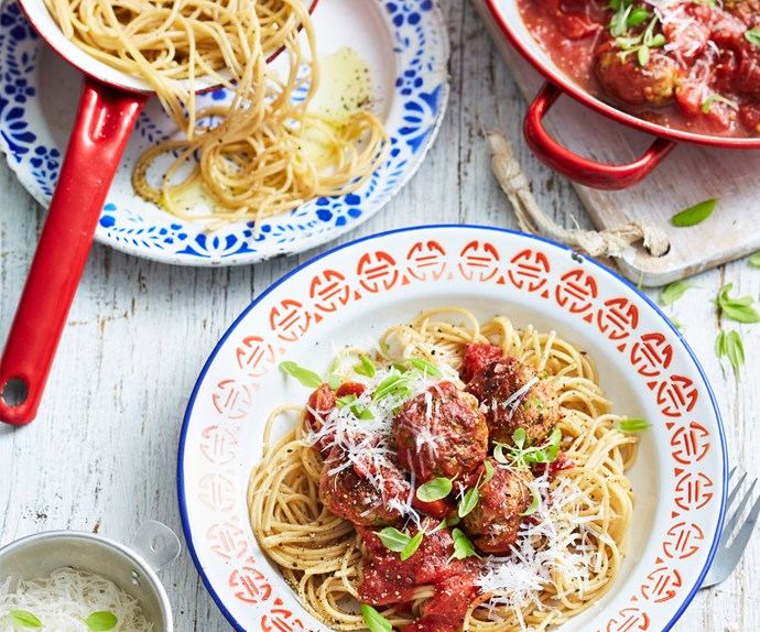 Baked chicken, pea and ricotta meatballs with spaghetti