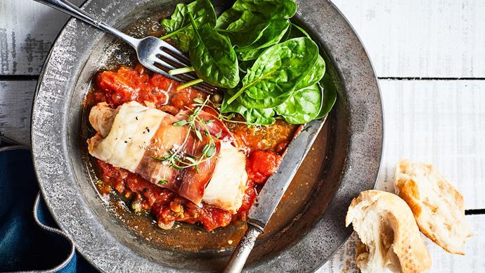 Hoki and prosciutto bundles with tomato and caper sauce