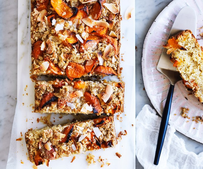Apricot and coconut crumble cake