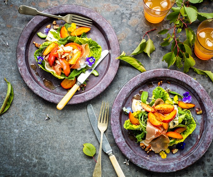 Warm nectarine salad with blue cheese, prosciutto and chilli pecans
