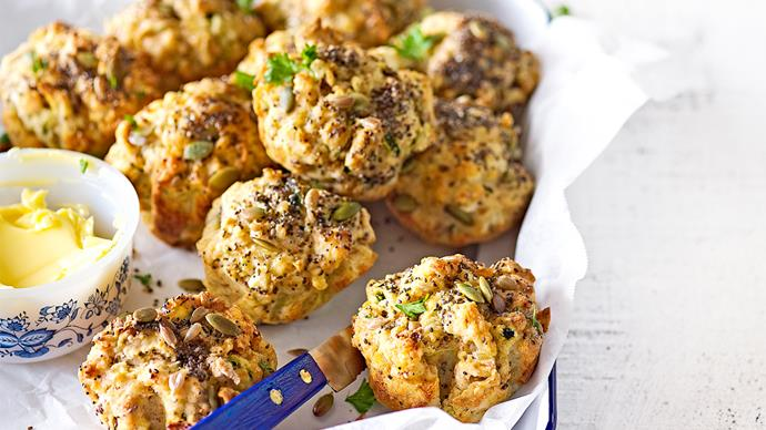 Courgette, feta and seed muffins