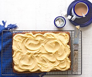 Courgette and banana sheet cake with caramel buttercream