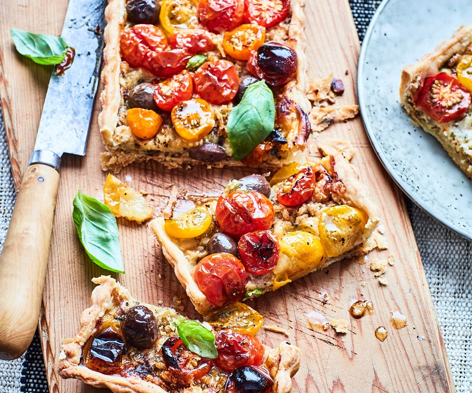 "[Tomato and smoked cheese tart](https://www.foodtolove.co.nz/recipes/tomato-and-smoked-cheese-tart-33381|target=""_blank"")"