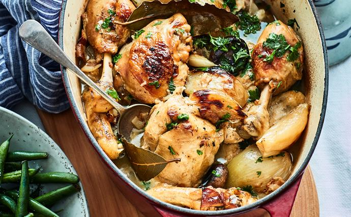 Chicken cooked in wine