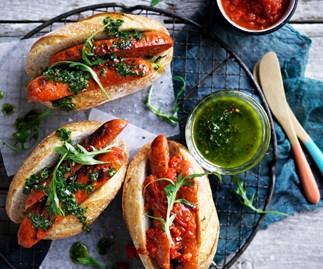 Chorizo hotdogs with chimichurri and smoky red relish