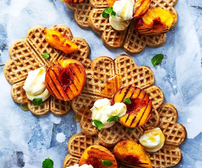 Buckwheat waffles with grilled peaches