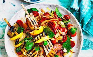 Sumac eggplant and chilli tomato salad