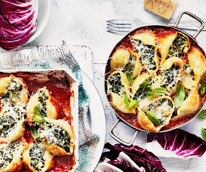"Conchiglie makes serving easy and presentation beautiful in this [spinach and ricotta pasta bake](https://www.foodtolove.co.nz/recipes/ricotta-and-spinach-pasta-bake-4409|target=""_blank"")."