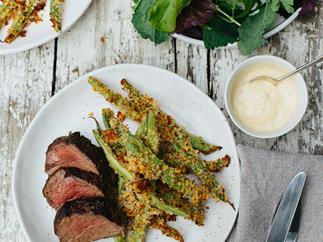 Caraway and parmesan-crusted beans with beef fillet and aioli