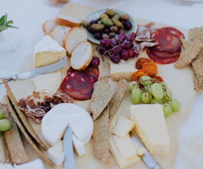 Cheese platter dips and crackers