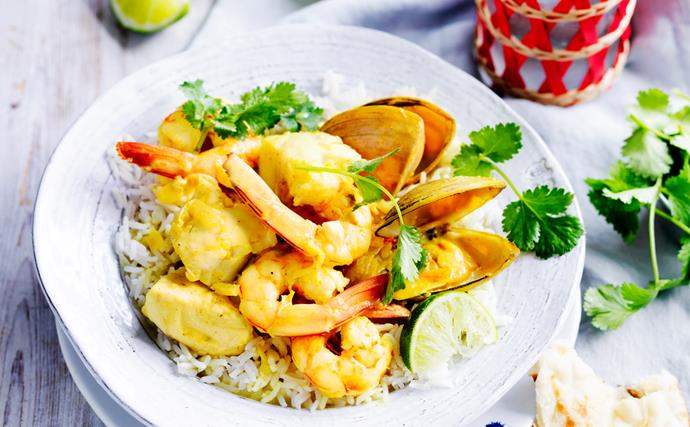 Spiced seafood coconut curry