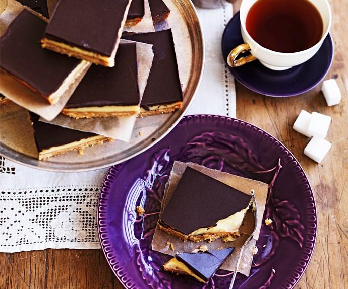 Classic chocolate caramel slice