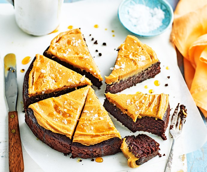 Salted chocolate cake with peanut butter maple icing