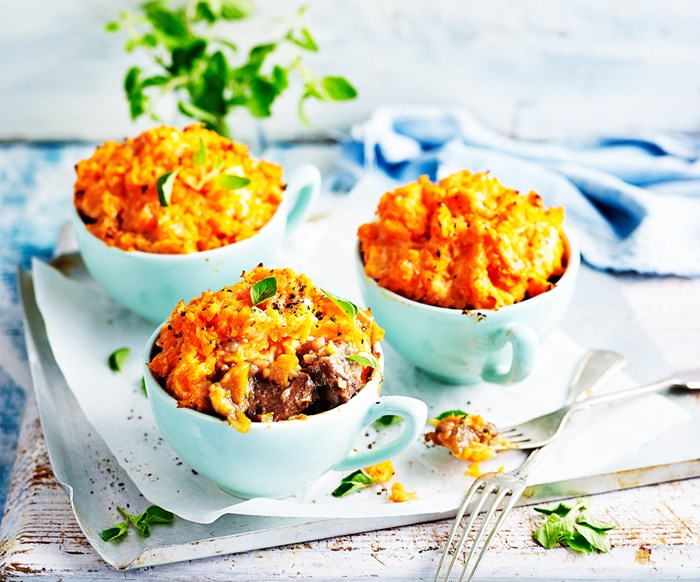 Beef and veg pot pies with kumara topping