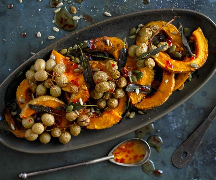 Roasted grape and pumpkin agrodolce platter