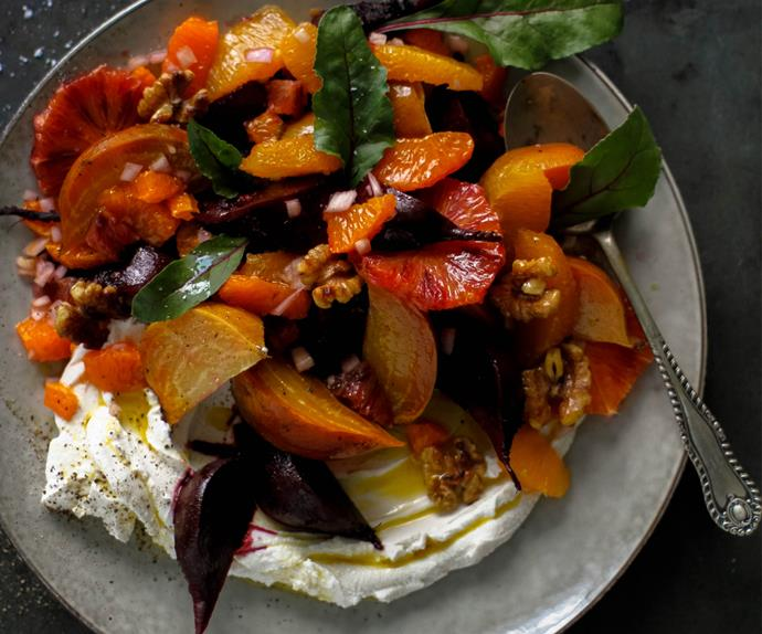 Roasted beet salad with orange, walnut and labneh