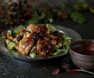 Crispy chicken thighs with blackberry vinaigrette
