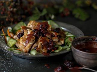 Crispy chicken thighs with blackberry vinaigrette