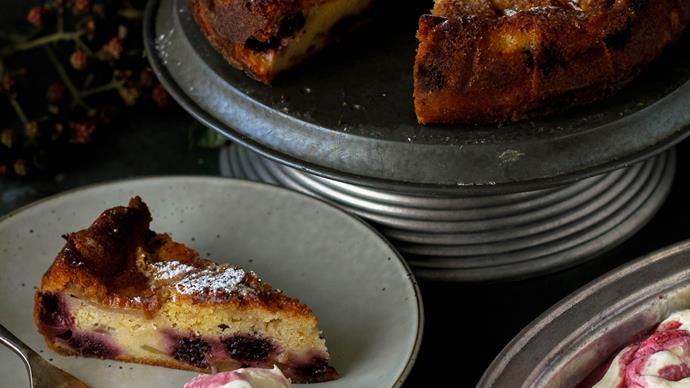 Blackberry and apple tea cake with blackberry cream
