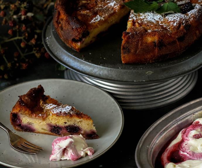 Blackberry and apple tea cake with blackberry cream