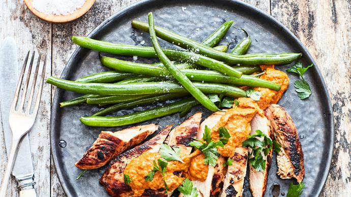 Chicken breast with romesco sauce