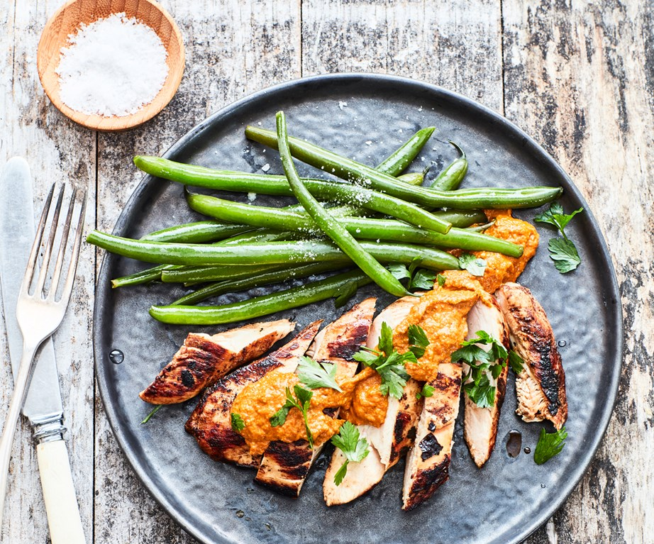 "[Chicken breast with romesco sauce](https://www.foodtolove.co.nz/recipes/chicken-breast-with-romesco-sauce-33484|target=""_blank"")"