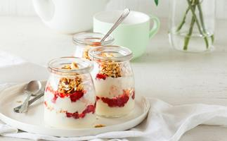 Whipped lemon yoghurt parfait with strawberry compote