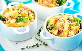 Gluten-free creamy salmon broccoli and penne pasta pots