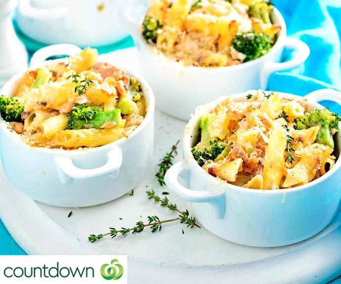 Gluten-free creamy salmon broccoli and penne pasta pots