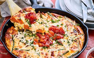 Roast kūmara, green bean, corn and feta frittata