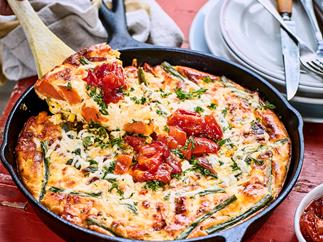 Roast kūmara, green bean, corn and feta frittata