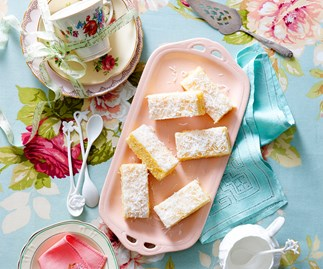 white chocolate, pineapple and coconut slice