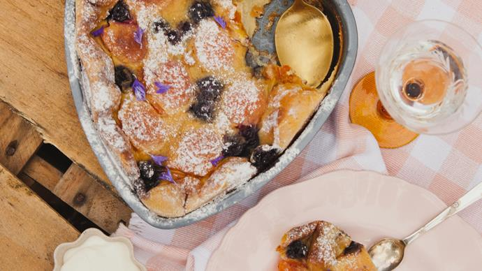 Stone fruit, blueberry and cardamom clafoutis
