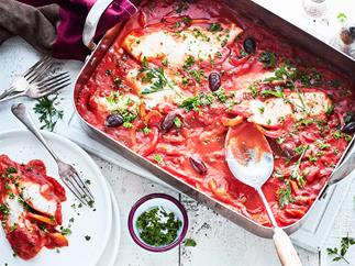 Tray-baked fish with sweet peppers