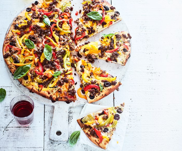 Roasted capsicum and sausage pizza